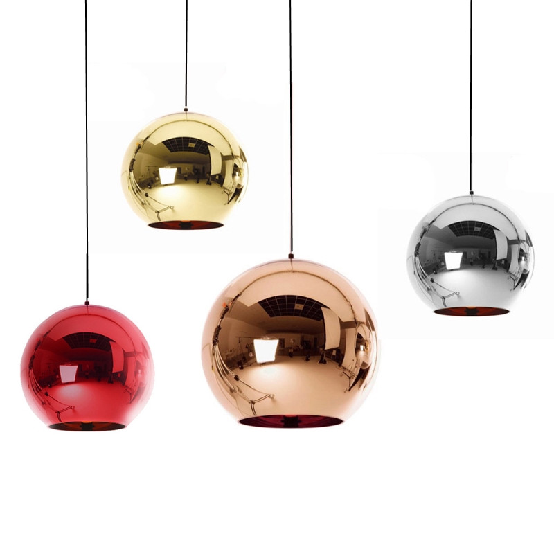 GZMJ Wonderland Modern Copper Glass Ball Pendant Lights Shade Mirror Luminaire Christmas Home Design LED E27 Pendant Lamp Light christmas wonderland to colour