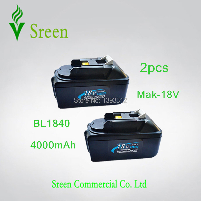 2PCS New 18V Lithium Ion 4000mAh Replacement Rechargeable Power Tool Battery for Makita BL1830 LXT400 194205-3 BL1840 BL1815 2 x panku 4 0ah 18v lithium ion replacement battery for makita cordless 18 volt bl1815 bl1840 bl1830