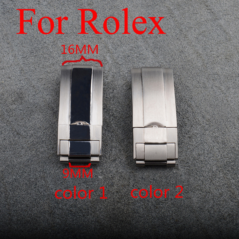16mm 9mm Butterfly Clasp 316 Stainless Steel Watch Buckle Folding Clasp For Role With Original Logo