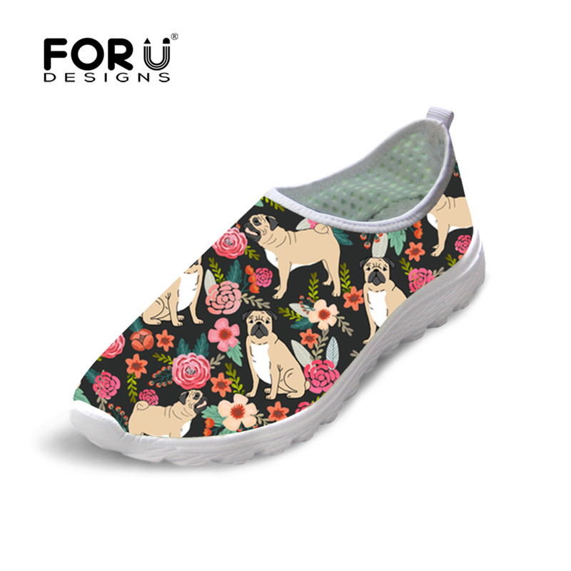 FORUDESIGNS 2018 Flower PUG Printed Woman Flats Slip on Breathable Mesh  Casual Wmoan Sneakers Nurse Work Shoe Zapatos de mujer-in Women s Flats  from Shoes ... df7d622e777c