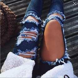 Мода 2018 г. весна рваные джинсовый женский Повседневный тертые с дырками бойфренд джинсы для женщин для регулярные Длинные рваные джинсы