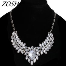 ZOSHI Brand Fashion women statement choker necklace silver Color chain ladies pendants necklaces crystal jewelry collier femme
