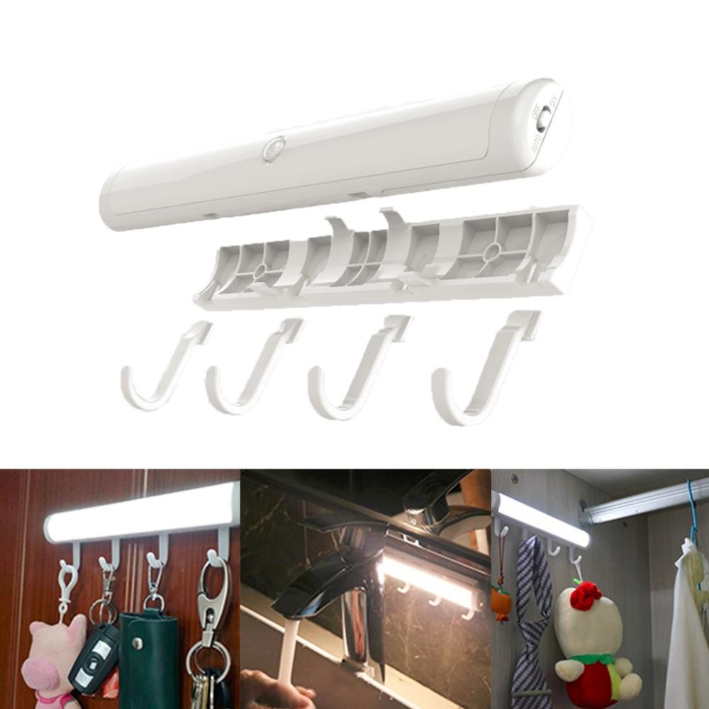 Motion Sensor Night Lamp Wardrobe Closet Light with Storage Hooks Battery Powered Wireless Cabinet LED Lighting
