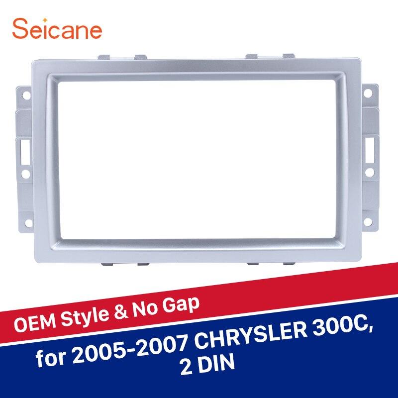 Seicane 2 DIN 173*98/178*100/178*102mm montagem Quadro Rádio Do Carro DVD jogador Painel Fascia Para Chrysler 300C Prata