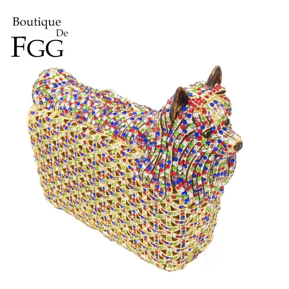 Boutique De FGG Multicolored Doggy Clutch Minaudiere Evening Bags Women Crystal Wedding Bag Cocktail Dog Clutch