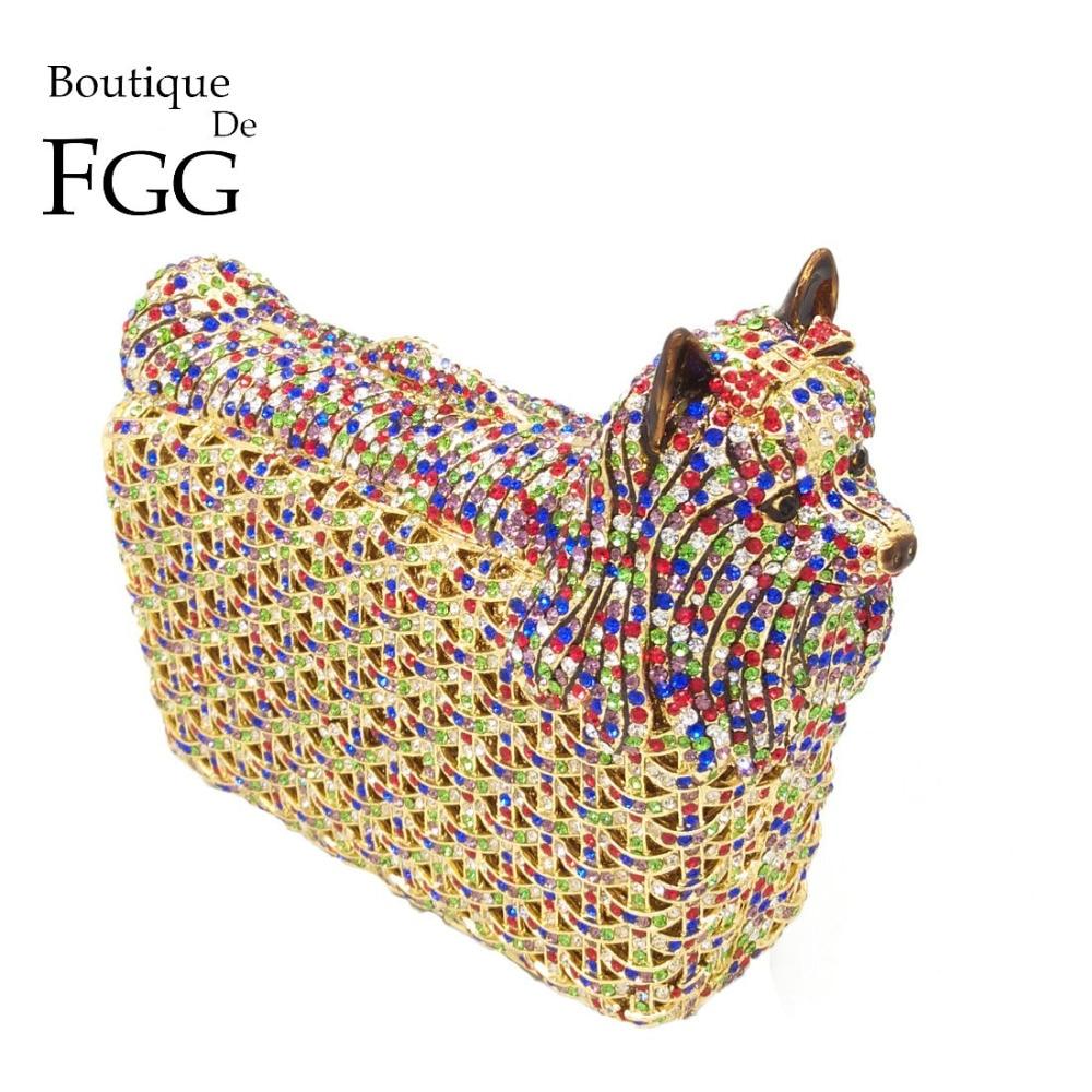 Boutique De FGG Flerfarvet Doggy Clutch Minaudiere Aftenposer Kvinder Crystal Bryllup Bag Cocktail Dog Clutch Party Handbag