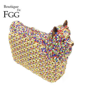 Boutique De FGG Multicolored Doggy Clutch Minaudiere Evening Bags Women Crystal Wedding Bag Cocktail Dog Clutch Party Handbag - DISCOUNT ITEM  44% OFF All Category