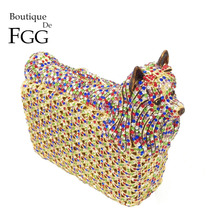 Boutique De FGG Multicolored Doggy Clutch Minaudiere Evening Bags Women Crystal Wedding Bag Cocktail Dog Clutch Party Handbag