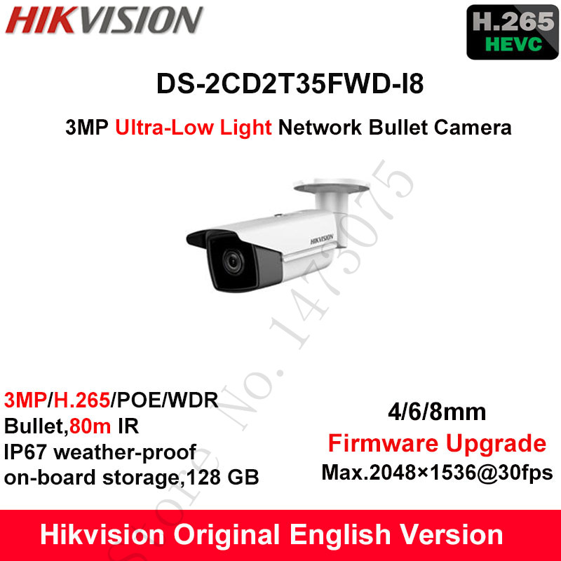In Stock Hikvision English 3MP H.265+ Ultra-Low Light IP Camera DS-2CD2T35FWD-I8 Bullet CCTV Security Camera WDR POE IP67 1K10 набор посуды bekker jumbo вк 963