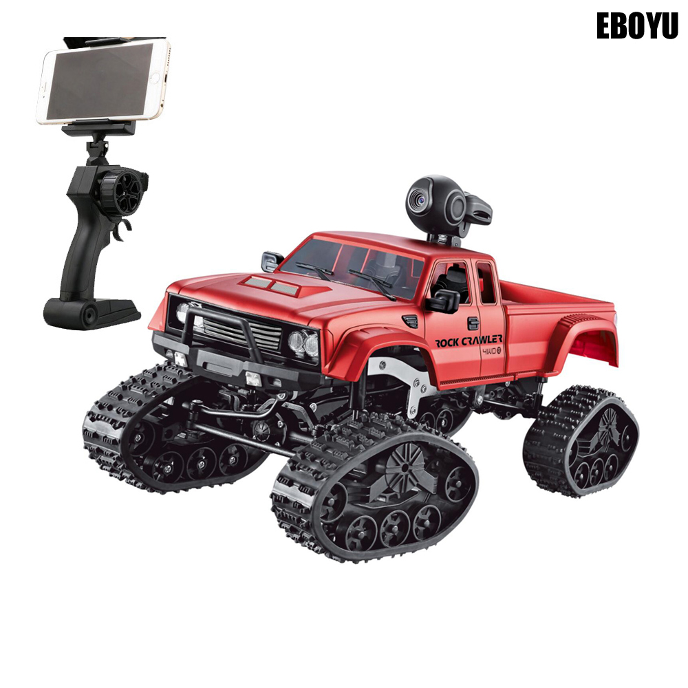 EBOYU FY002B + WiFi 2.4 ghz 1/16 4WD Neige Pneus Camion Hors-route RC Camion avec la Lumière Avant WiFi FPV 0.3MP Caméra Militaire Camion RTR