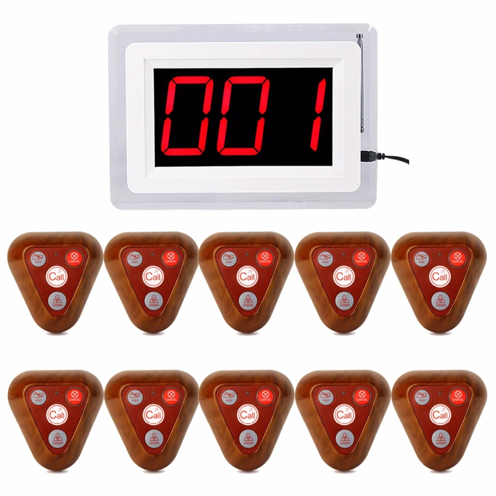 Restaurant Pager Wireless 999 Channel Waiter Calling Ordering System 1 Receiver Host +10 Wooden Call Button Transmitter F4400B 20pcs transmitter button 4pcs watch receiver 433mhz wireless restaurant pager call system restaurant equipment f3291e