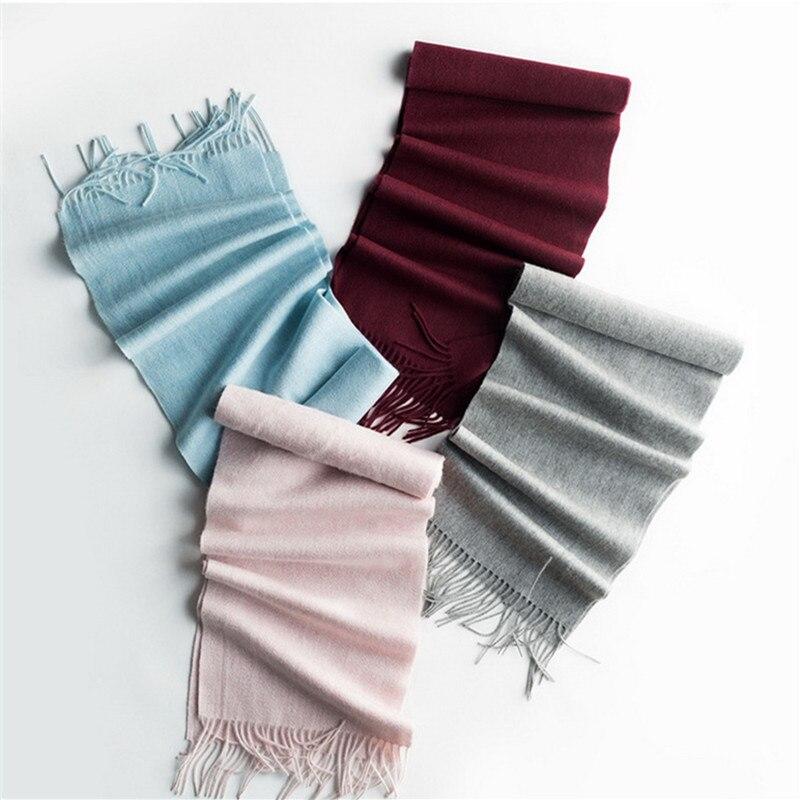 Spécial laine mérinos chèvre cachemire mélange écharpes pour unisexe hiver classique boutique étroite longue 30x190 cm claret 3 couleur