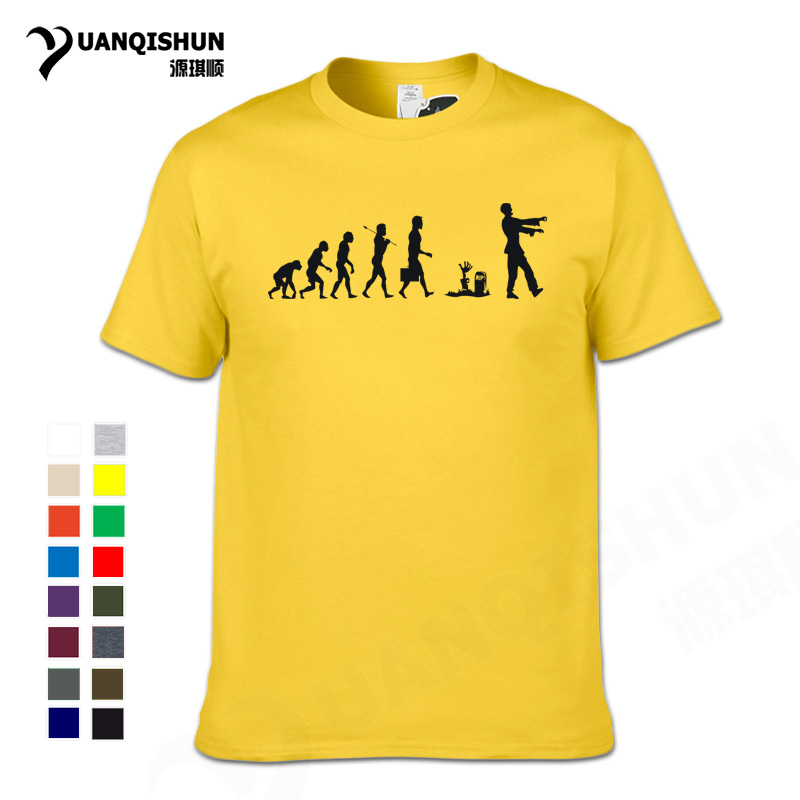 Hommes drôles la marche mort à manches courtes évolution Zombie T-Shirt Boutique 16 couleurs coton T-Shirt adulte vêtements hauts T-Shirt