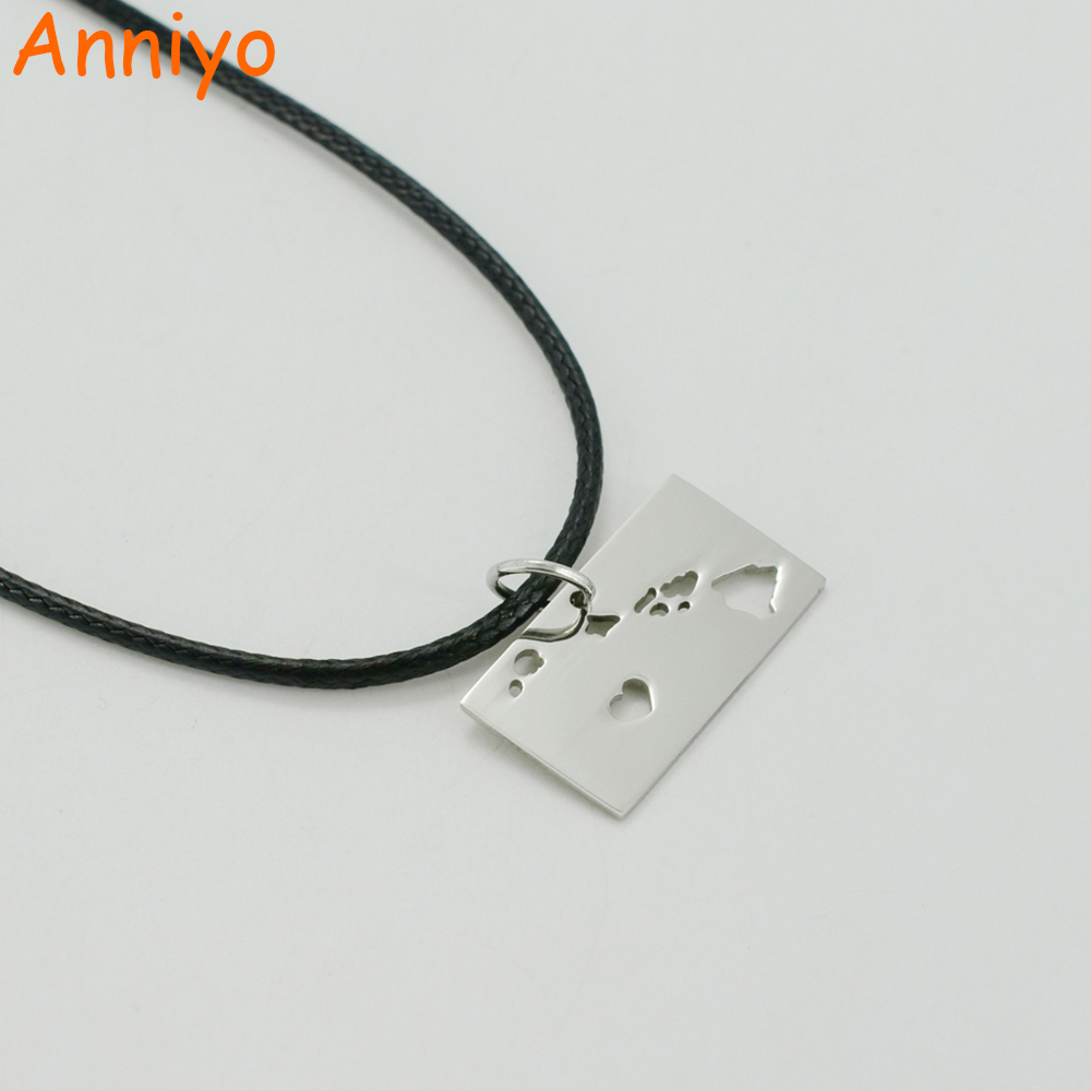 Anniyo State of Hawai Map Necklaces United States Maps Stainless Steel Pendant Rope for Women/Men #001108