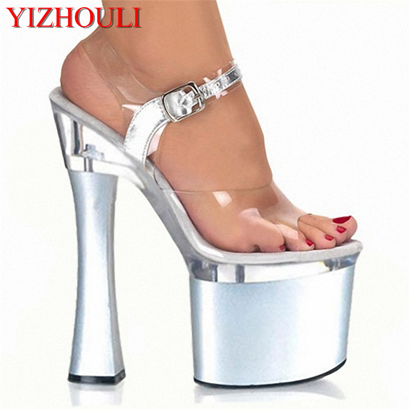 Fashionable Shining Women's 18CM High Heel Platforms Pole Dance / Performance / Star / Model Shoes Wedding Shoes 15cm sexy super high heel platforms pole dance performance star model shoes wedding shoes crystal shoes
