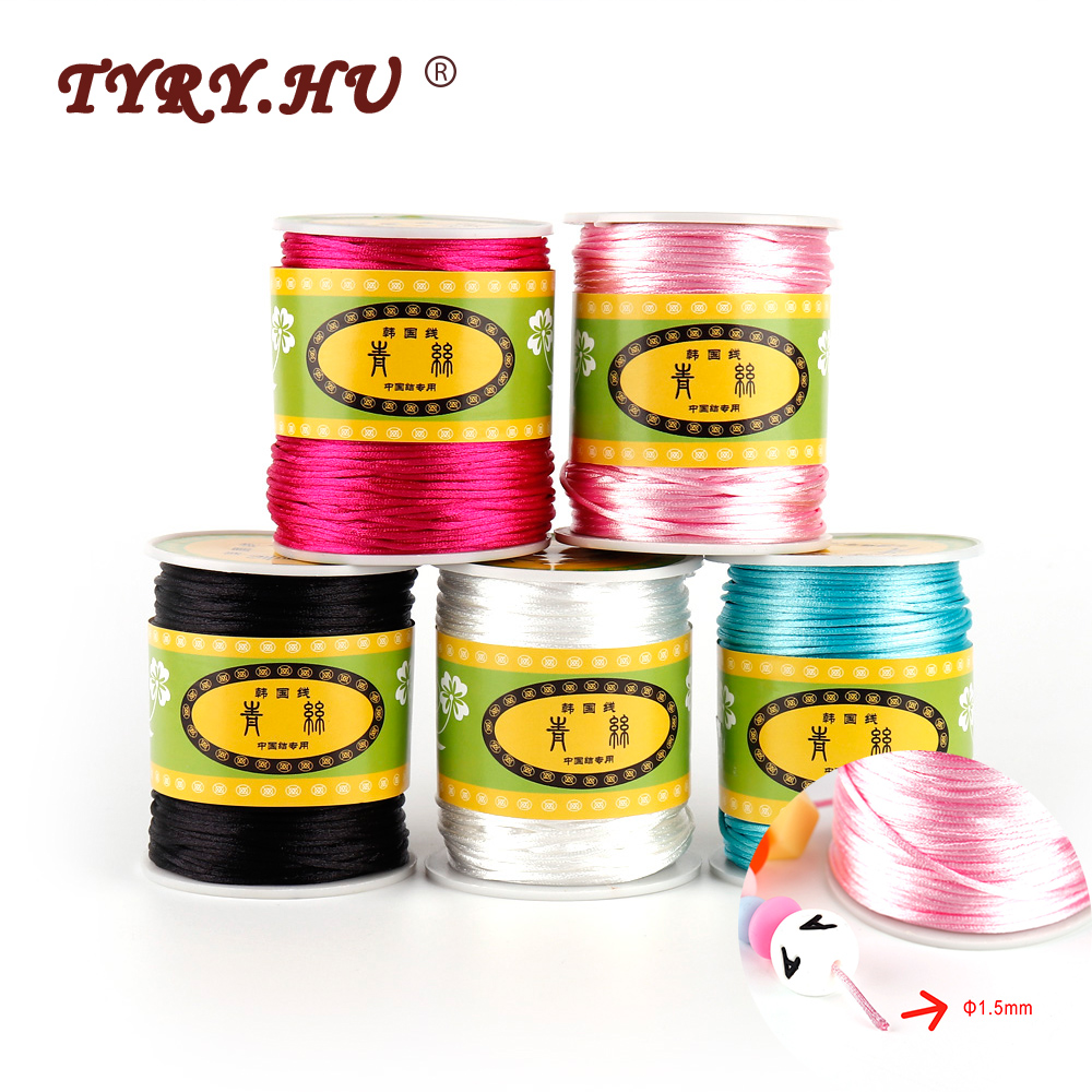 TYRY.HU Baby Teething Necklace Teether Accessories 1.5mm Satin Silk Rope 80Meters For DIY Baby Teether Necklace Pendants Tool