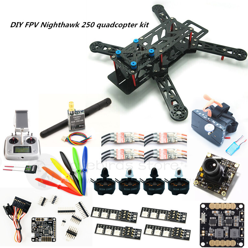 DIY FPV mini drone Nighthawk 250 quadcopter kit D2204+BL20A ESC + NAZE32 10DOF + 700TVL camera + Video goggles + FS-I6S diy mini drone red hawk qav r pure carbon 4x2x2 frame kit dx 2205 bl20a esc opto naze32 rev6 10dof cc3d fpv camera