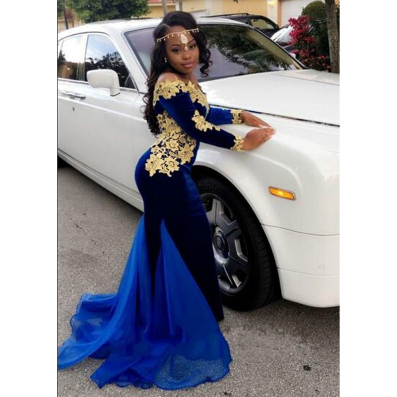long Sleeve Mermaid Velvet Off the Shoulder Prom Dresses 2017 Royal blue Gold Appliques Evening gown