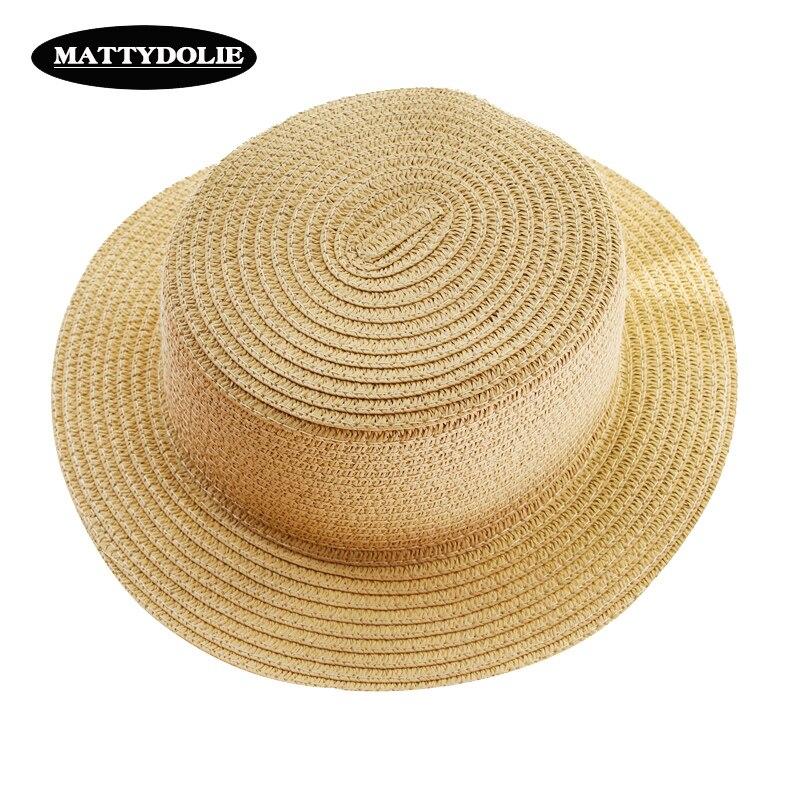 c5520777e2398 MATTYDOLIE Atacado versão monocromática verão dobrável chapéu de palha luz  sombrinha lado largo flat top chapéu de praia chapéu de sol dos homens das  ...