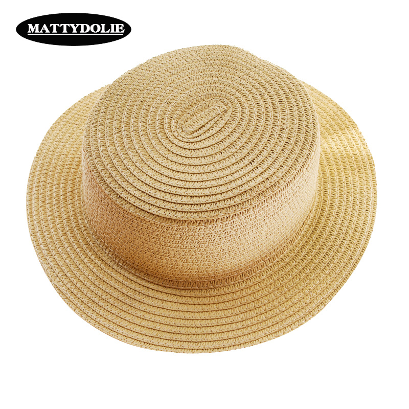 95ac92e4833 MATTYDOLIE Wholesale straw hat light version monochrome summer foldable  sunshade wide side flat top beach hat women men sun hat