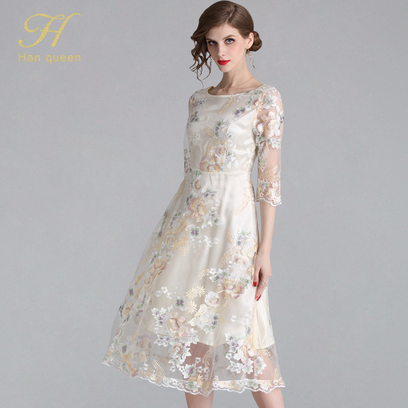 H Han Queen New Women Embroidery Mesh Dress Flower Hollow Out 3/4 Sleeve Vestidos Elegant Work Casual Vintage Party Maxi Dresses