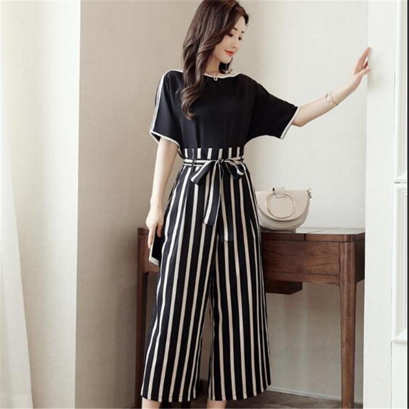High Quality Women 2 Piece Striped Pant Set 2018 Summer Fashion Short Sleeve Blouse Tops / Ankle-Length Pants Suit Female K0240 4