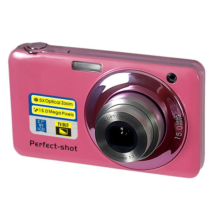 ФОТО 15MP digital camera with 5x optical zoom/4x digital zoom/2.7'' TFT display/rechargeable lithium battery camera free shipping