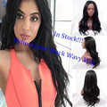 Natural look natural black color hair long dody wave hair heat resistant synthetic hair lace front wig premium wig for women