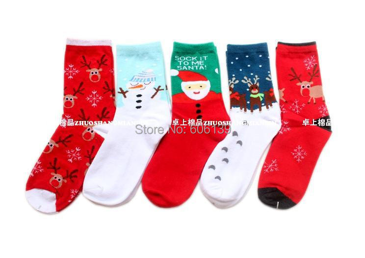 Christmas Milu Deer Snow Couples Cotton Middle Tube Warm Soft Wholesale Socks Females Socks Mix 5pairs Pregnant Women Cotton In Many Styles Damenmode