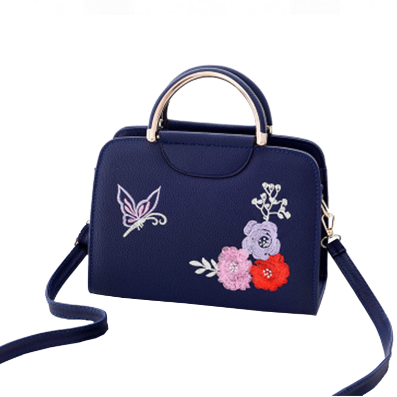 Embroidery Women Shoulder Bag Casual Totes Handbag Colorful Butterfly Flower Patten Daily Shopping Bag Metal Top-handle Design