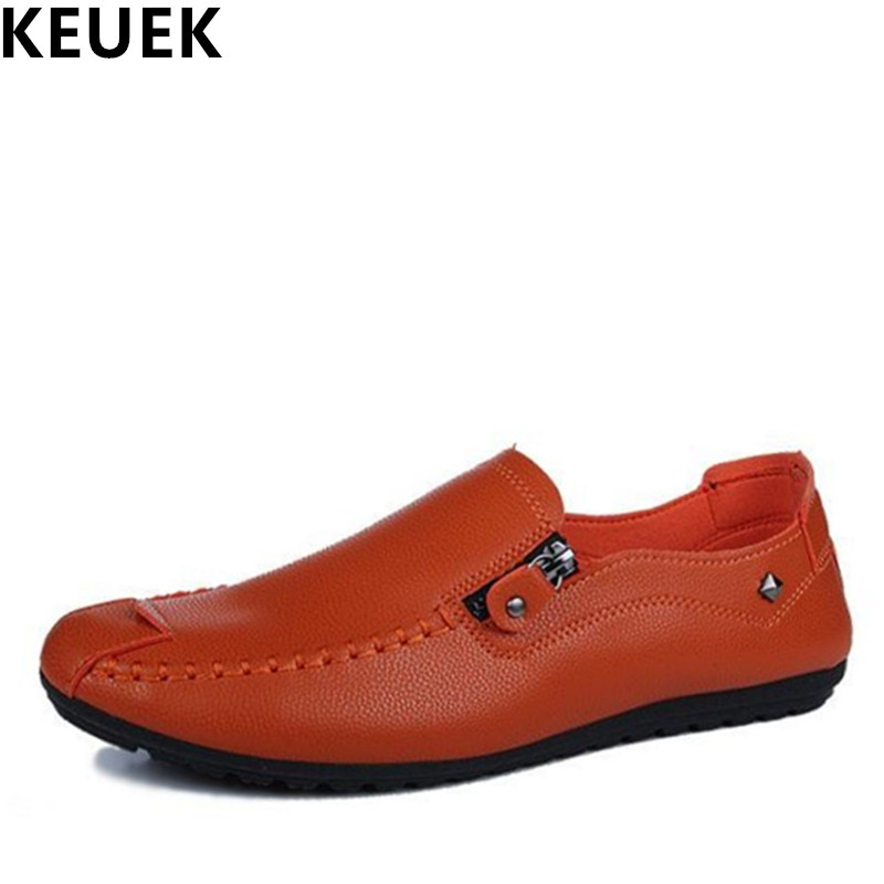 Spring Men Loafers Breathable Slip-On Flats Male Casual leather shoes soft outsole Comfortable driving shoes 01B men s crocodile emboss leather penny loafers slip on boat shoes breathable driving shoes business casual velet loafers shoes men