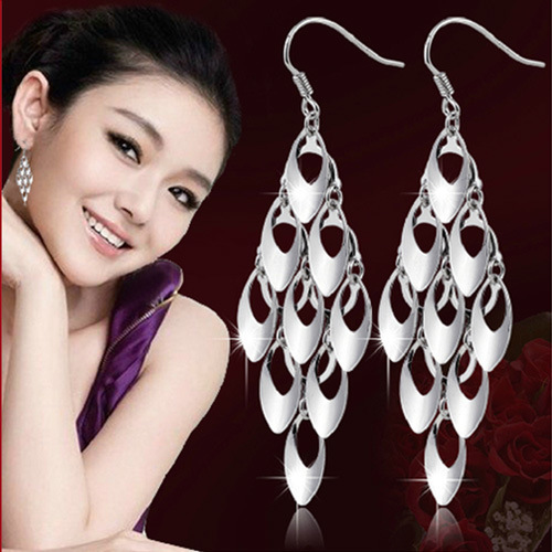 Silver Plated Peacock Tail Tassel Earrings