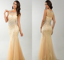 Vestidos De Fiesta 2014 Free Shipping Custom Made Elegant Crystal Beaded Designer Prom Dress Champagne Color robe de soiree