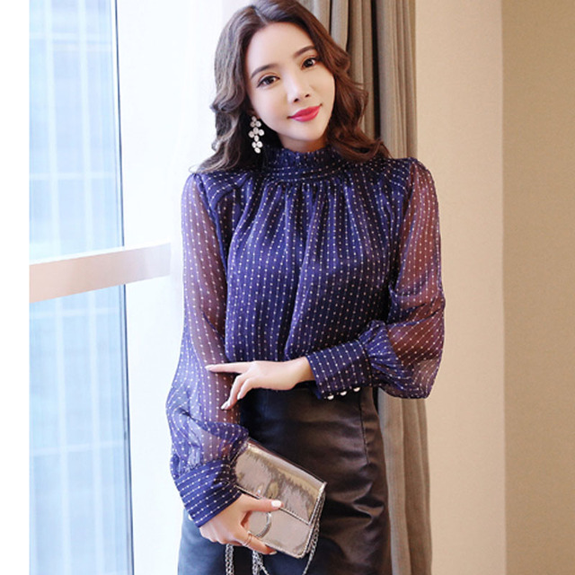 new arrived 2018 spring blouse women long sleeved shirt female fashion loose blouse office lady clothing D468 30 4