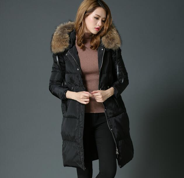 Women Down Coat Jacket Medium Length Woman Down Parka with large Fur collar hooded Coat Women New Winter Collection T775