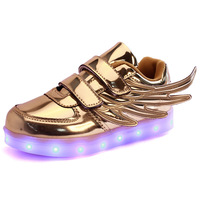 2017 neue populäre art kinder shoes flügel led-licht kind shoes usb casual sneaker leuchtstofflampe lade niedliche kinder shoes