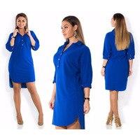5XL 6XL модная женская одежда плюс размер Лето Осень отложной воротник Сплит платье синий сексуальный нерегулярный большой размер рубашка пла...