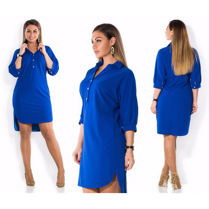 5XL 6XL Fashion Women's Clothing Plus Size Summer Autumn Turn Down Collar Split Dress Blue Sexy Irregular Large Size Shirt Dress