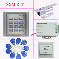 Free shipping RFID card proximity card access control+power supply+electric lock+PC exit button+10pcs RFID key