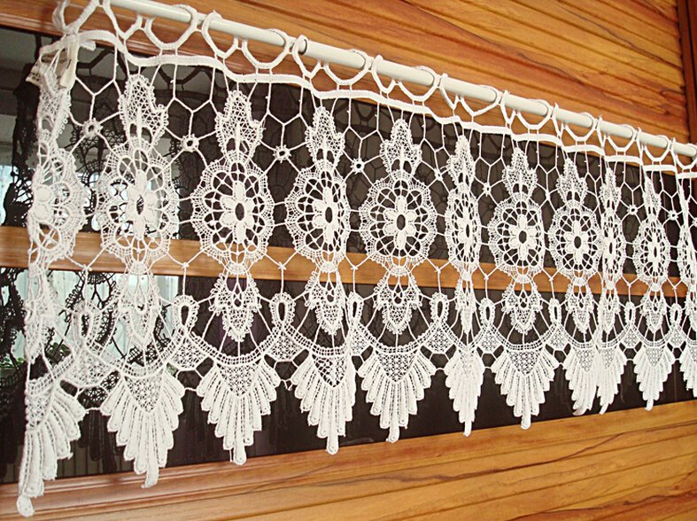 Vintage hechos a mano de ganchillo ventana cenefa decoración del ...