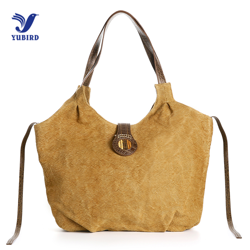 YUBIRD Casual Tote Bag Canvas Women Large Capacity Hobo Bag Handbag Female Ruched Solid Shoulder Bag sac cabas bolsa feminina hmunii striped casual tote women canvas handbag casual single shoulder shopping bags beach zipper large bag sac a main bolsa