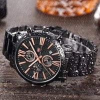 Mini foco militar esporte relógio masculino 3 sub mostradores 6 mãos luminosas relógio de pulso à prova dwaterproof água|Relógios de quartzo| |  -