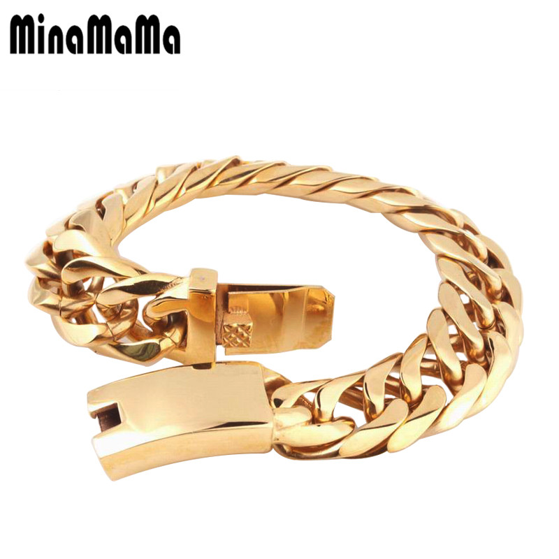High Quality Stainless Steel Gold Color Curb Cuban Chain Link Thick double-buckle Bracelets Jewelry Rapper Men Accessories