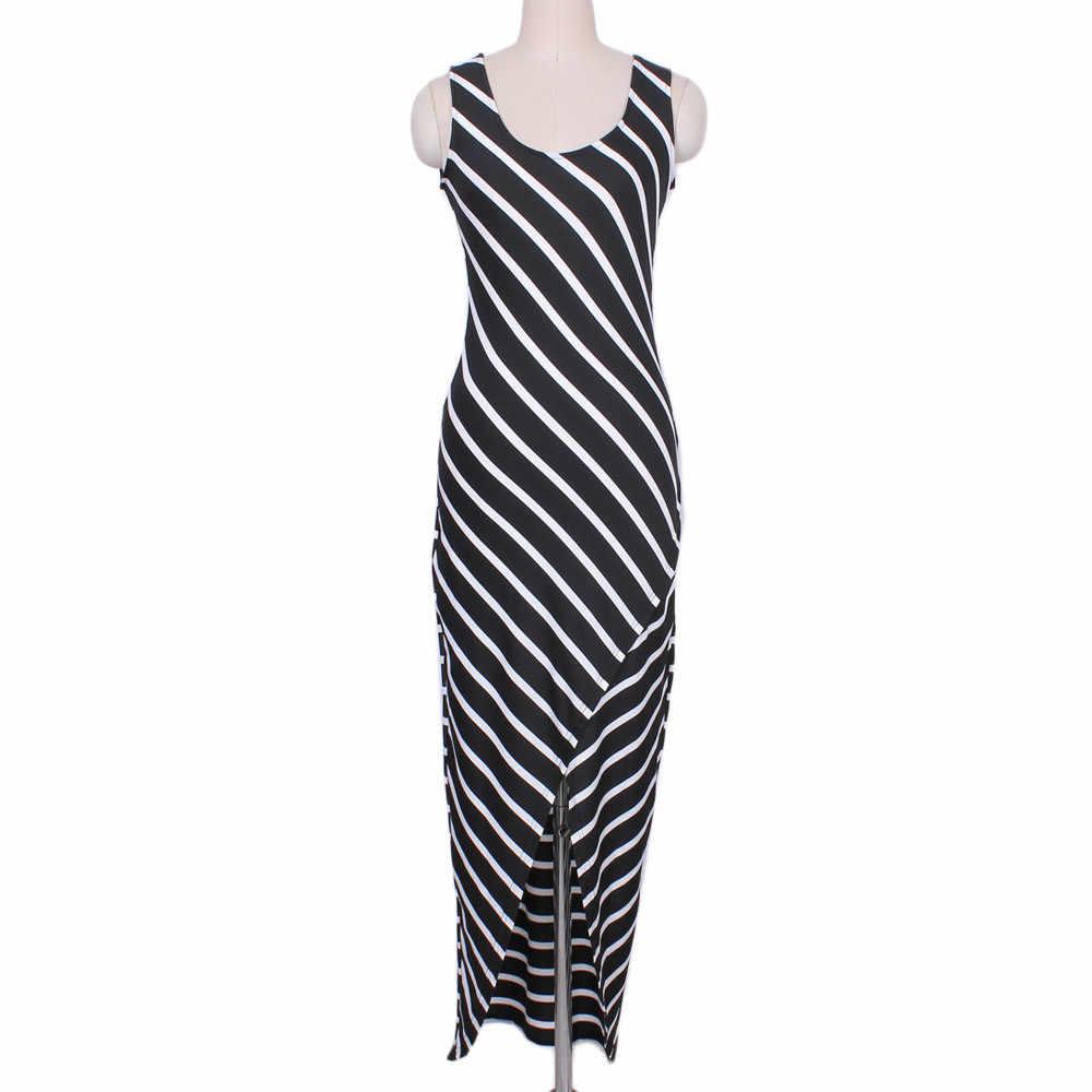 women dress 2018 long maxi beach summer dress women Casual Sundress Sleeveless Stripes Loose Long Beach Dress