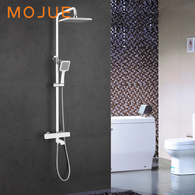 Mojue Thermostatic Shower Set Mixer With Thermostat Black White Gloden Bathroom Fixture With Faucet And Shower