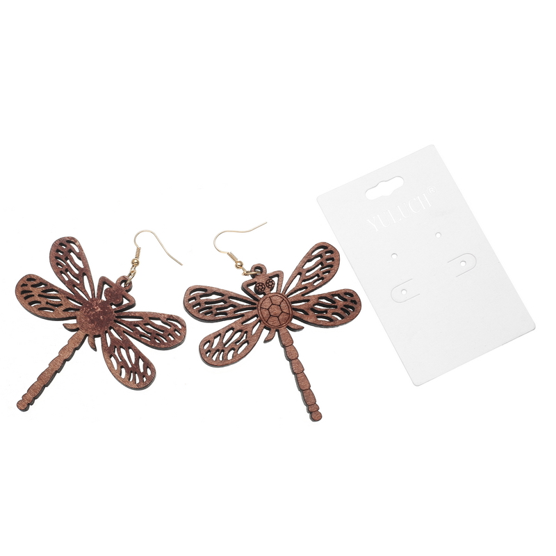 YULUCH Vintage Design Shinny 4 Colors wood Dragonfly earrings for Women Jewelry simple party girl lady Accessories Gift