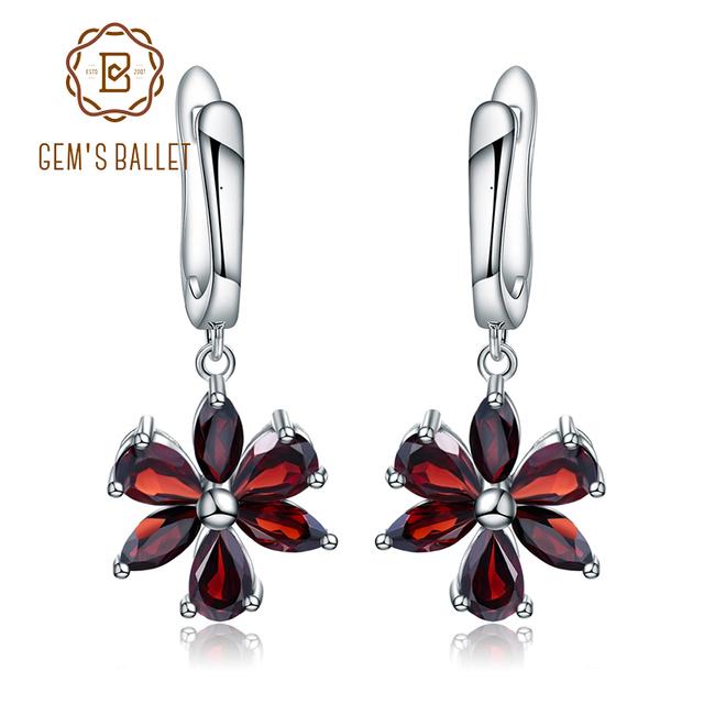 Gem's Ballet Solid 925 Sterling Silver Fine Jewelry Flower Design Garnet Stone Gorgeous Drop Earrings For Women