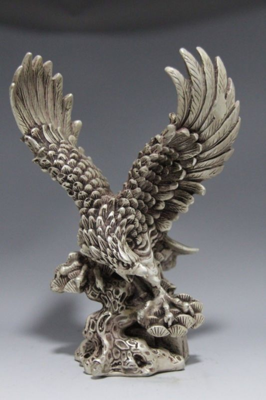 Collectible Decorated Old Handwork Tibet Silver Carve Eagle Dapeng wing Statue|statue tibet|statue decoration|statues collectibles - title=