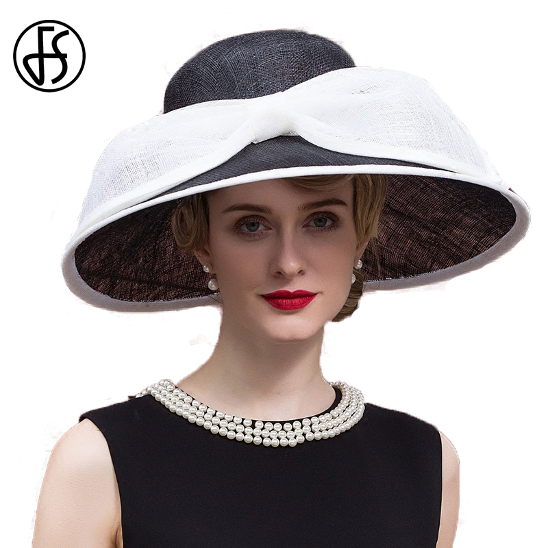 e63272fc FS Summer Black Linen Ladies Hat Kentucky Derby Hats For Wome Elegant  Wedding Church Dresses Sinamay