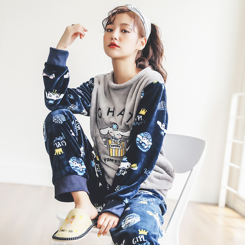 Thicken Women's   Pajamas     Sets   Unicorn Coral fleece Flannel Warm Cartoon Korean Female Nightie 2018 Autumn Winter Women   Pajama